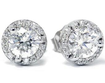 Martini Diamond Pave Halo . 85CT VS Studs 14K White Gold Womens Earrings