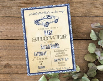 Little Hot Rod Vintage Baby Shower Invite,  Invitation with Classic Mustang Car, Blue Ford, Gray Baby Shower Invite, Digital File