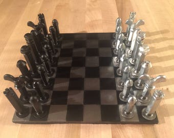 Chess Set Nuts and Bolts Steel industrial steampunk