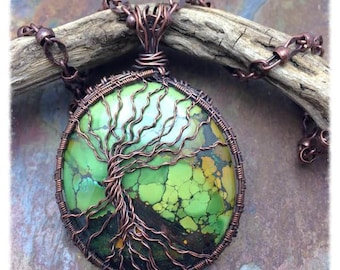 Huge Tibetan Turquoise Tree of Life Necklace  Antique Copper, Free USA Shipping,Marta Weaver Artisan Jewelry,Birthday, Anniversary, Friend,
