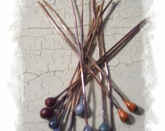 20  or 22 gauge Multi colored enameled headpins Made to order