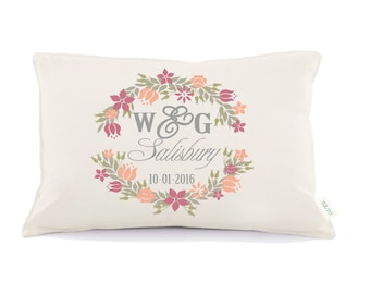 Floral Pillow, Mr & Mrs Pillow, Personalized Wedding Pillow, 2nd anniversary pillow, wedding gift, Personalized pillow,Anniversary gift(D30)