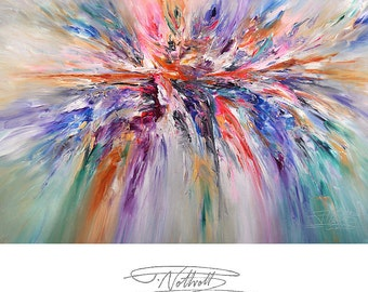 "63.1 "" x 43.4 "". Large Abstract Painting Original XL Acrylic on Canvas Modern Art. Pink, Purple, dynamic Peter Nottrott."