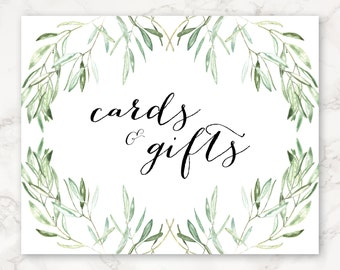 Printable Wedding Sign - Cards and Gifts - Watercolor Olive Branches - Greenery - Nature - Floral