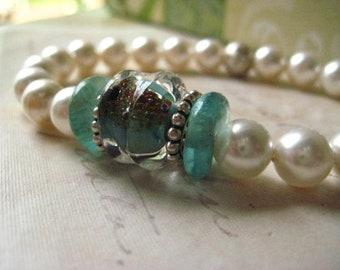 lampwork bracelet, pearl bracelet, glass beads, stretch bracelet, artisan lamp work, sterling silver, recycled glass, candies64