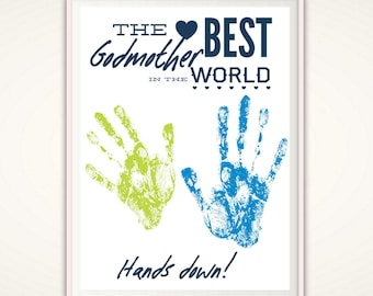Godmother Gifts - Personalized Gift for Godmother, INSTANT Download DIY Handprint Art, Baptism Gift, Christening Gift, Godparent Gift, PDF