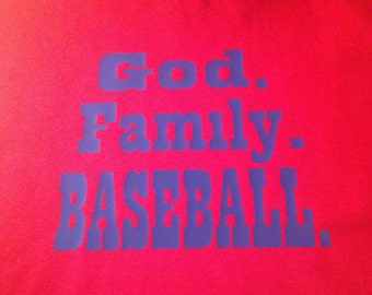 "Custom Child's Shirt ""God. Family. Baseball."""