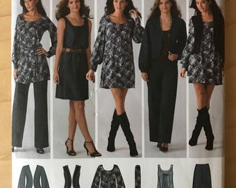 Simplicity 3539 - Easy to Sew Wardrobe Separates with Jacket, Vest, Dress, Tunic, Self Belt and Pants - Size 8 10 12 14 16
