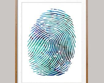 Fingerprint Watercolor Print fingerprint poster fingerprint illustration Wall Art anatomy art science art gift fingerprint Wall decor [N492]