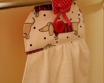 Kitchen/Bathroom hanging hand towel dachshund dog polka dot prints NEW cotton fabric Kitchen tea gift idea