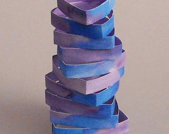 Small Helix Watercolor Paper Sculpture
