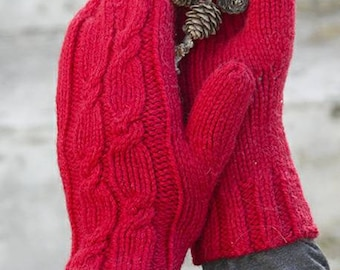 Christmas cable mittens