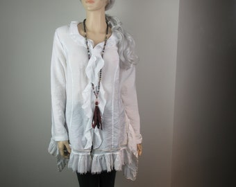 Lagenlook Boho Tunic Shirt Ruffled White Shabby Eco Chic Loose Fit w/ Back Corset Ties One Size Fits S - XL