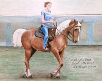 custom drawing horse & rider colored pencil portrait