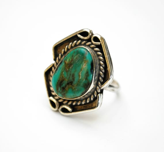 Sterling Blue Turquoise Ring - size 6 3/4 -  native American-  Old Pawn - southwestern