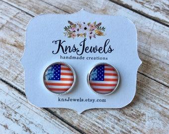 America Druzy Studs, Custom Earrings, Sweet 12mm, Wedding, Bridal, Druzy Jewelry, Druzy Earrings