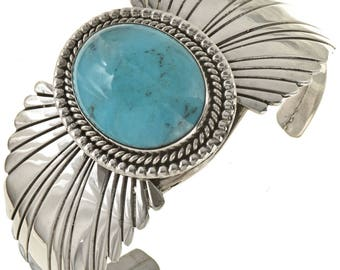 Southwest Turquoise Bracelet Navajo Ladies Silver Cuff Native American Jewelry