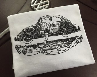 Classic Volkswagen Beetle cut out T-shirt.  Full front print on a 100% cotton preshrunk Tee. White shirt, full color print. SKU 101.