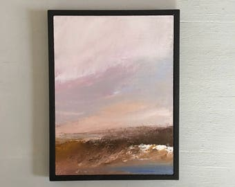 Beach Painting- Framed- Black Frame- Small Painting - Original Painting- 6 x 8  -Contemporary Small Painting