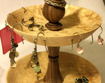 Dresser top Jewelry display, Made with Birdseye maple and walnut for contrast.