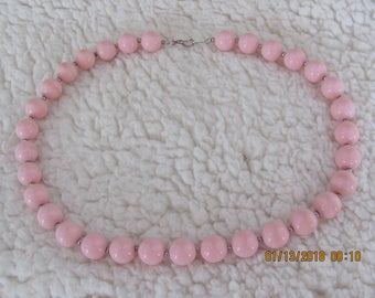 Vintage Pink Bead Necklace Fashion For Casual Wear Or Weddings. Proms, Travel, Parties, And More