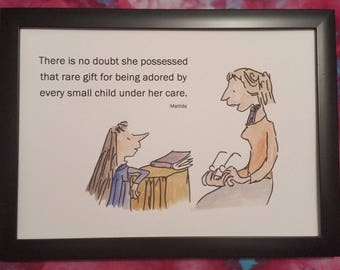 A4 Matilda Quote and Watercolour Painting Roald Dahl Quentin Blake Hand Painted Miss Honey Teacher Gift