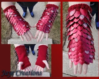 Red with Valknut Etching Knitted Scalemail Gauntlets on Crimson Red Acrylic Yarn - JayeCreations