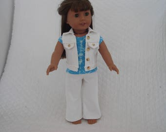 """White Denim Sleeveless Jacket, Jeans and Blue Tie Dye T-Shirt for American Girl Doll or other 18"""" Dolls"""