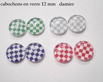 8 glass cabochons 12 mm for loop checkerboard theme