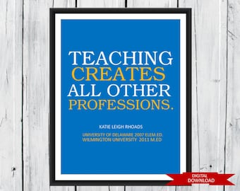 Teacher Appreciation Gift Digital Download PDF - Teacher Graduation Gift
