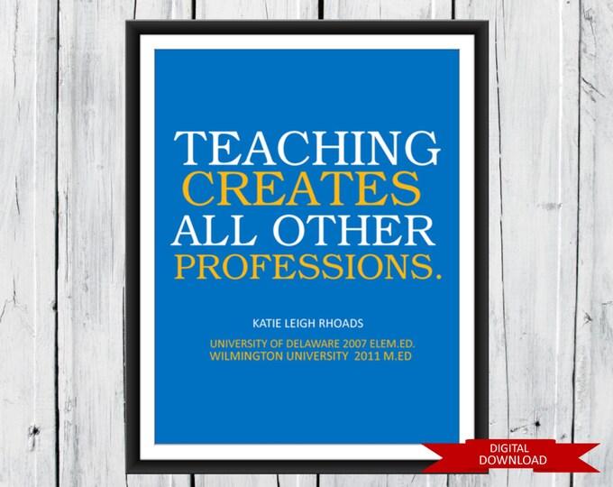 Teacher Appreciation Gift Digital Download PDF - Teacher Graduation Gift