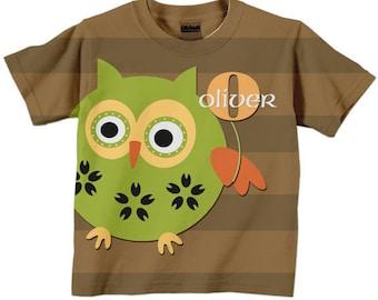Personalized Boys Owl T-Shirt, Childrens Clothing, Shirt