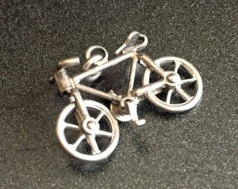 Articulated Bicycle Charm, Sterling Silver Bike  Charm, Articulated Bicycle Charm, Vintage Jewelry, Sterling Silver Bicycle Charm