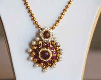 Round Pearl Pendant Earring Set / Indian Wedding Jewelry / Traditional Indian Pendant Set / Purple Stone Necklace / Antique Gold Finish Set.