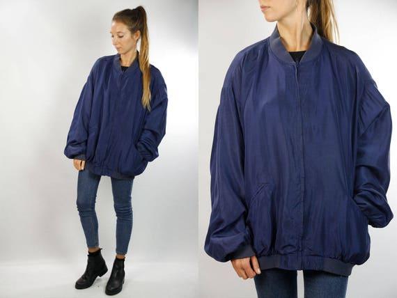 Silk Bomber Jacket Silk Balloon Jacket Silk Jacket Silk Bomber Silk Bomber Blue Silk Jacket Blue Bomber Jacket 90s Bomber jacket