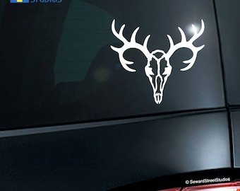 "Deer Skull Decal / Deer Hunting Sticker / Deer Head Laptop Decal / Buck Deer Car Sticker / Deer Skull Tablet Sticker / 4.25"" h 4.75""w / #926"