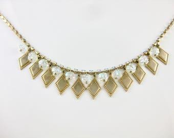 Vintage Arurah Borialous Strass & goldene Halskette Form
