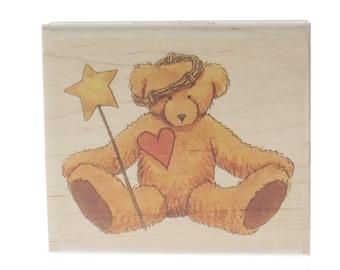 Stampington And Co Got Heart Teddy Bear Teresa Kogut Wood Mount Rubber Stamp