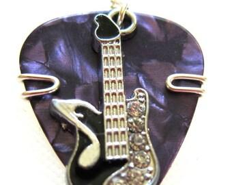 Bad Ass Guitar Pick Pendant purple with black guitar charm