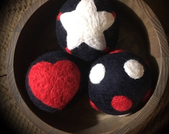 Cute Patriotic Red, White, and Blue Wool Dryer Balls!!