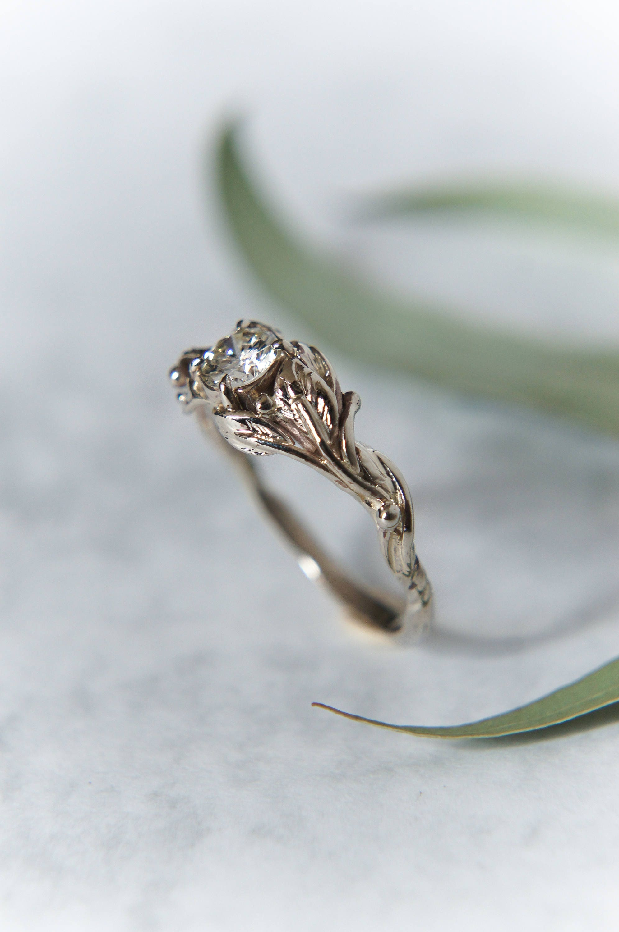 engagement alternative leaf nature rings ring il twig rustic listing gold wedding moissanite fullxfull