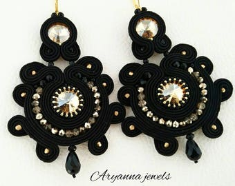 "Soutache earring black ""Rosone"""