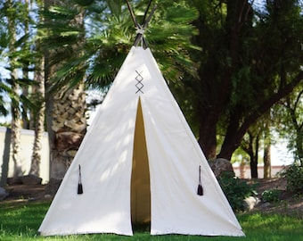 XL original teepee, 8ft kids Teepee, large tipi, Play tent, wigwam or playhouse with canvas and leather tassel Door Ties