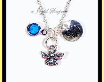 Honey Bee Necklace Silver Queen Bee Jewelry Dainty Bumble Bee Pendant Sterling Silver With Custom Birthstone, Silver Bee Charm Tiny Bee 83