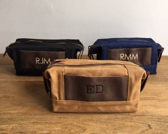 Dopp Kits, 1, 2, 3, 4, 5, 6, 7, 8, 9, 10, 11, 12, Mens Travel Bag, Personalized Mens Toiletry Bag, Waxed Canvas Leather Bag, Groomsmen Gift