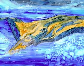 BENEATH THE SURFACE - Original Artwork, Whale, Ocean