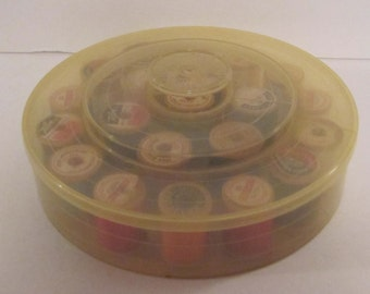 Vintage Thread Spools and Storage Container