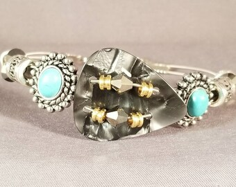 "Guitar String and Guitar Pick Bracelet ""Grey & Turquoise"""