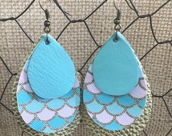 Mermaid + Gold Metallic + Blue Leather Teardrop Earrings (large)