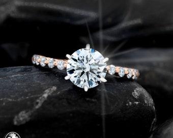 Classic Engagement Ring, Engagement Ring, Traditional Engagement Ring, 14 karat Rose Gold Ring, Diamond Ring, Rose Gold Ring | LDR02443